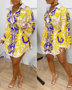 ELEGANT PRINT BUTTON-UP CASUAL SHIRT DRESS