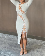 Load image into Gallery viewer, PLAIN CUTOUT EYELET LACE-UP SLIT DRESS