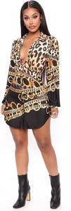 LEOPARD CHAINS CASUAL TURN-DOWN BUTTON-UP SHIRT DRESS