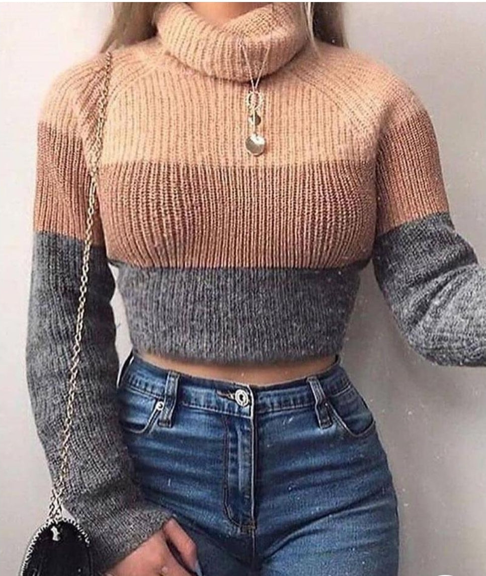 COLOR STRIPED LONG SLEEVES CASUAL SWEATER