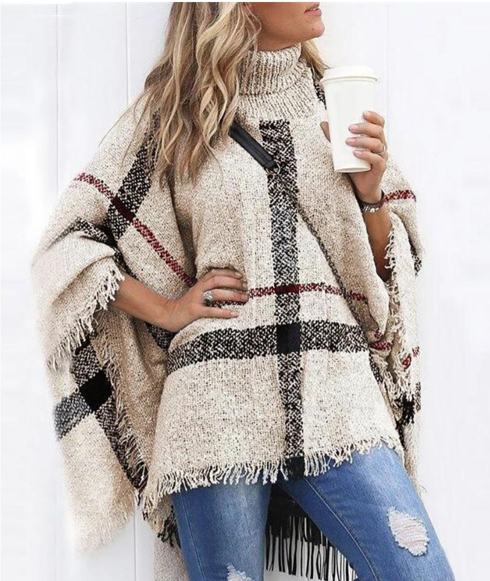 STRIPED COLOR TASSEL DESIGN CAPE SLEEVES KNIT WINTERS CAPE