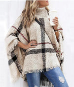 Load image into Gallery viewer, STRIPED COLOR TASSEL DESIGN CAPE SLEEVES KNIT WINTERS CAPE