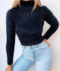 TURTLENECK SOLID FLUFFY LONG SLEEVE SWEATER