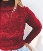 Load image into Gallery viewer, TURTLENECK SOLID FLUFFY LONG SLEEVE SWEATER