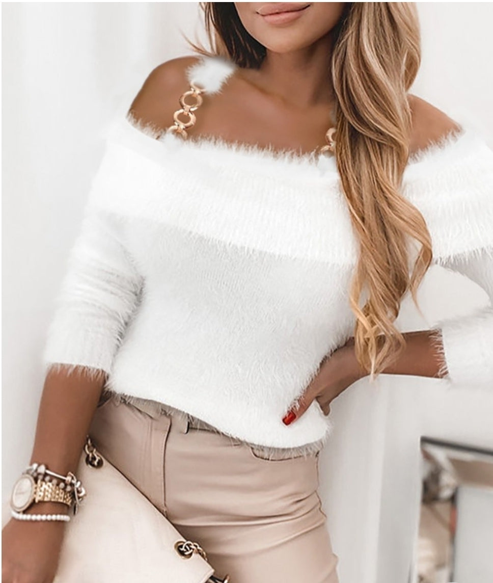 CHAIN DECOR COLD SHOULDER FLUFFY SWEATER