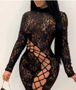 Load image into Gallery viewer, FLORAL LACE CUTOUT LACE-UP SEXY JUMPSUIT