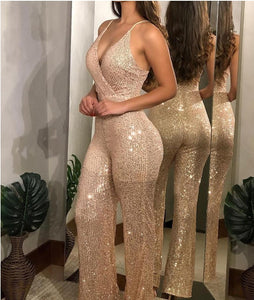 SLEEVELESS SPAGHETTI STRAPS SEQUINED JUMPSUIT