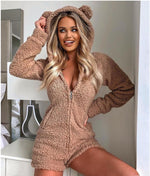 Load image into Gallery viewer, ZIPPER DESIGN LOUNGE TEDDY HOODED ROMPER