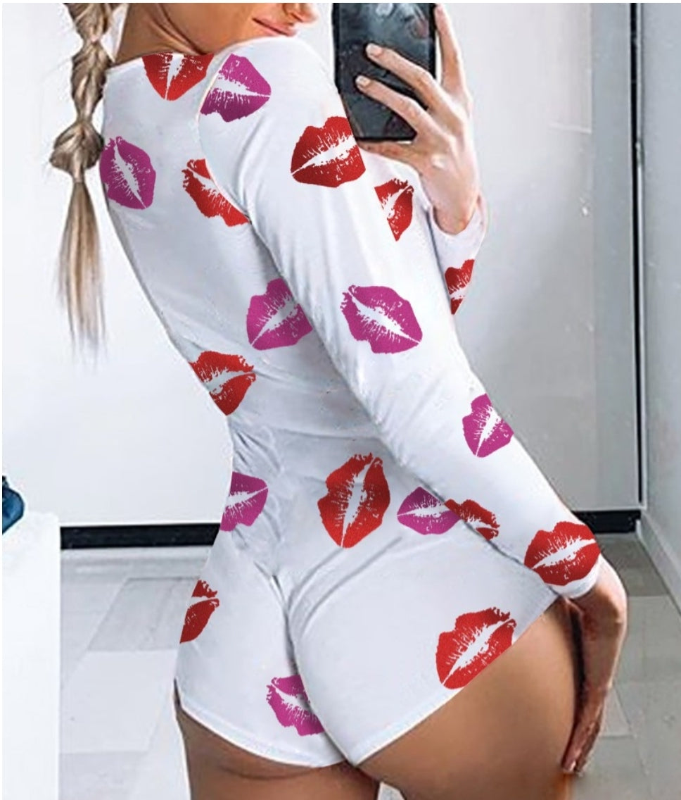 WOMEN'S ONESIES PRINTED LONG SLEEVES PJ'S