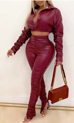 Load image into Gallery viewer, PU LEATHER CROP TOP & HIGH WAIST PANTS SET
