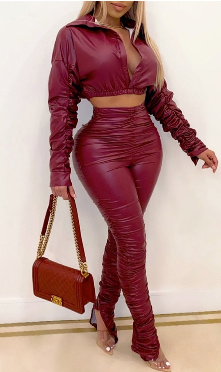 PU LEATHER CROP TOP & HIGH WAIST PANTS SET