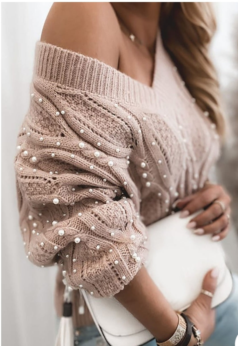 BREADED LONG SLEEVES CABLE KNITTING SWEATER