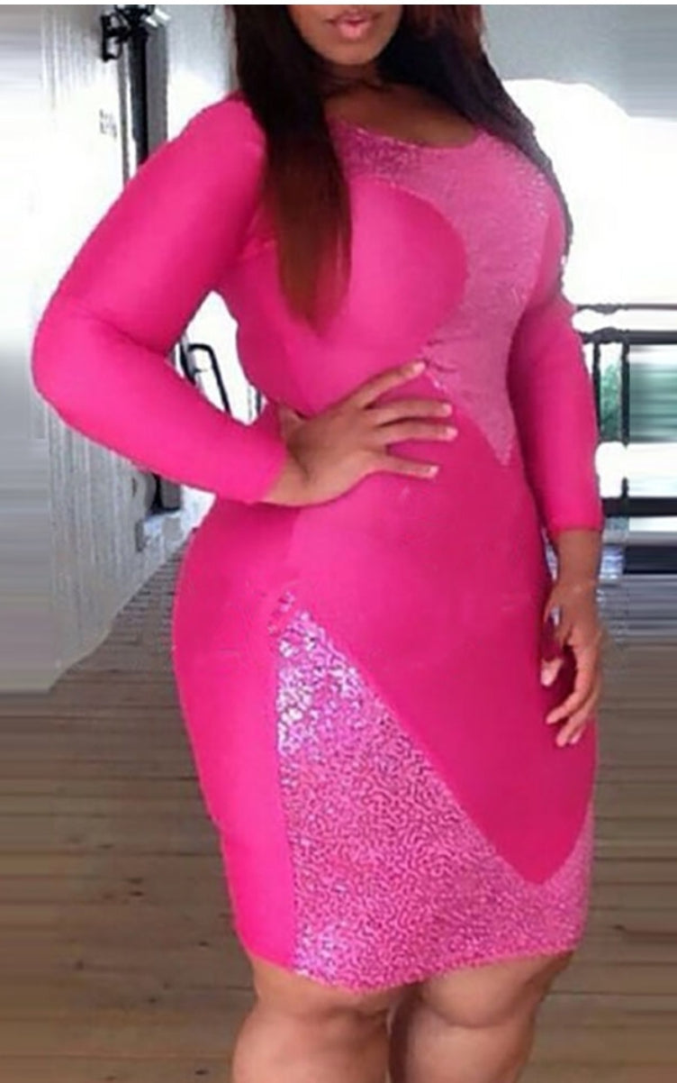 SEXY THICK SEQUINS LONG SLEEVES BODYCON DRESS