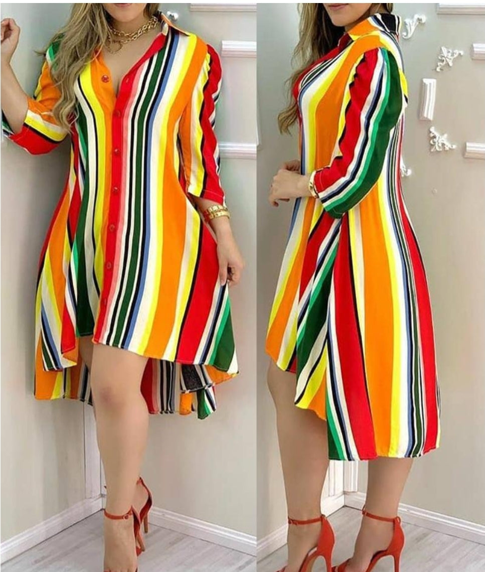 STRIPED BUTTONED DESIGN DRESS