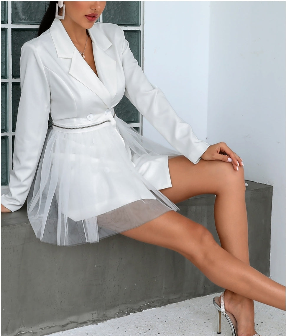 ZIPPER DESIGN SHEER BLAZER DRESS