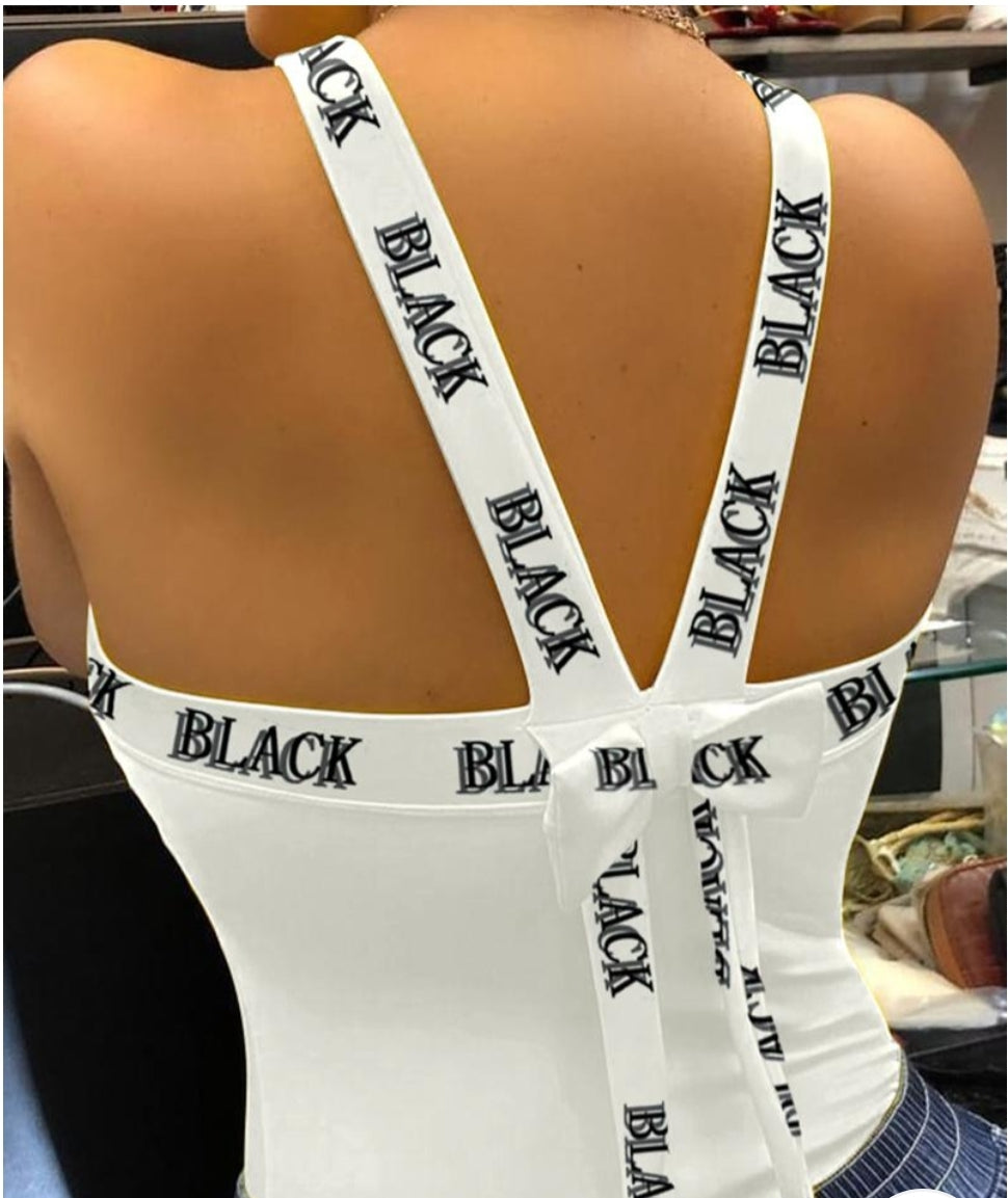 THICK STRAP BACKLESS PRINT SPORTY TOP