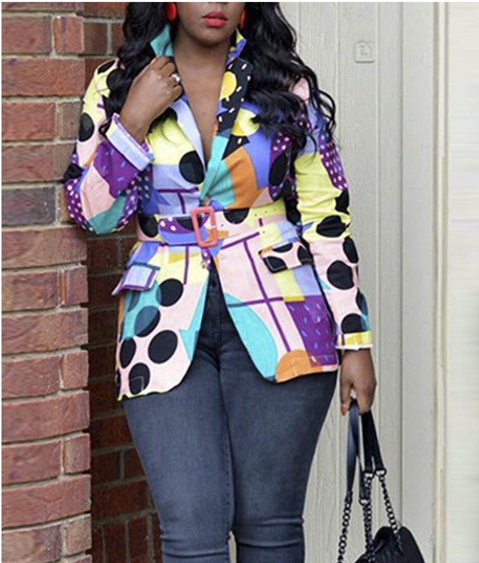 COLOR BLOCK PRINTING LONG SLEEVE BLAZER