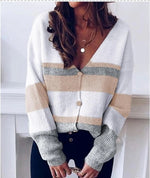 Load image into Gallery viewer, STRIPED V-NECK KNIT SWEATER CARDIGAN