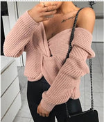 Load image into Gallery viewer, COLD SHOULDER TWIST KNITTED SWEATER