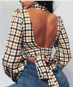 Load image into Gallery viewer, GRID BACKLESS TIE CUT OUT BLOUSE