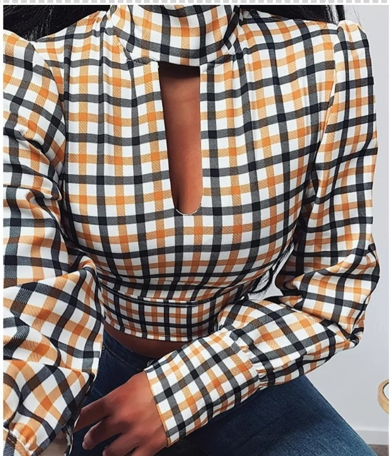 GRID BACKLESS TIE CUT OUT BLOUSE