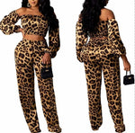 Load image into Gallery viewer, LEOPARD OFF THE SHOULDERS 2 PIECE PANTS SET