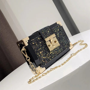 NEW LASER LEATHER LOCK SEQUINS CHAIN HANDBAG