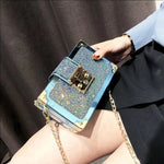 Load image into Gallery viewer, NEW LASER LEATHER LOCK SEQUINS CHAIN HANDBAG