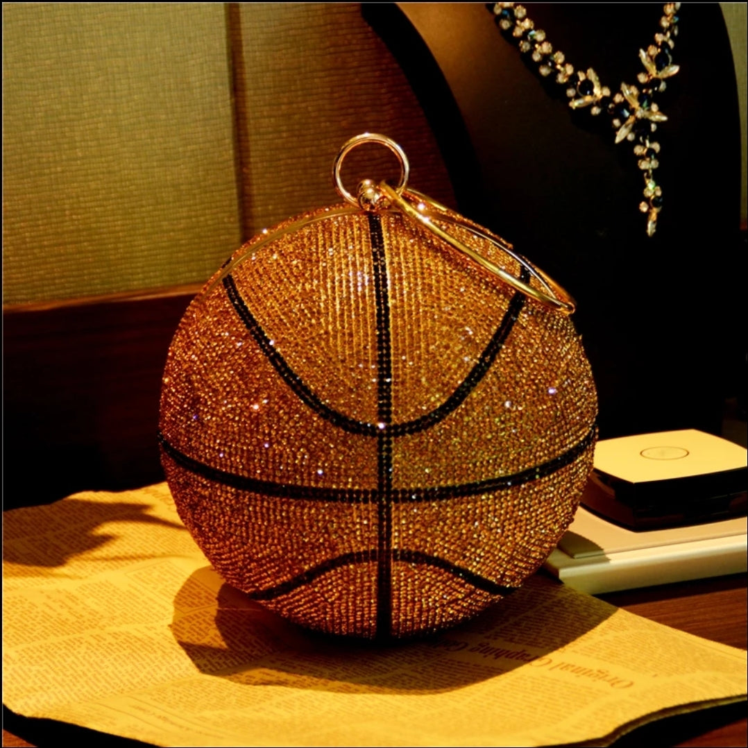 DIAMOND SHAPE BASKETBALL CLUTCH PURSE