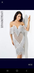 OFF SHOULDERS DEEP V-CHEST TASSEL BANDAGE BACKLESS EVENING DRESS
