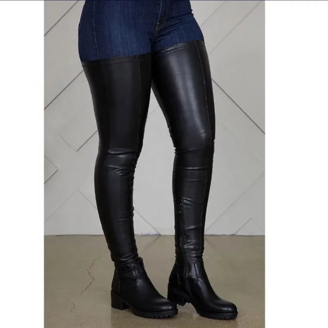 TRENDY OVER THE KNEES PU LEATHER BOOTS