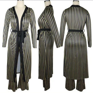 COMFORTABLE STRIPED 2 PIECE CASUAL OUTFIT