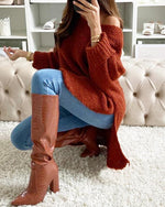 Load image into Gallery viewer, PLAIN SLIT DIP HEM LONG SLEEVES SWEATER