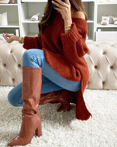 PLAIN SLIT DIP HEM LONG SLEEVES SWEATER