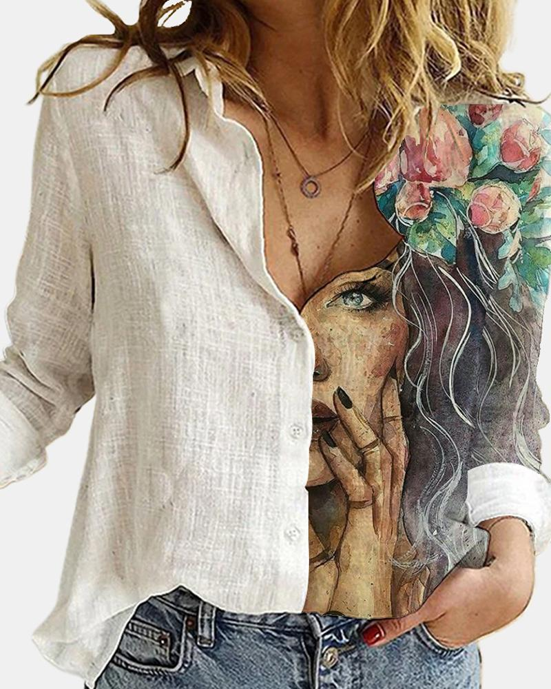 Copy of WOMEN'S FLORAL PRINTING LONG SLEEVES LOOSE BLOUSE