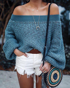 SOLID COLOR LANTERN SLEEVES SWEATER