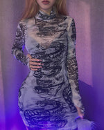 Load image into Gallery viewer, HIGH NECK PRINT BODYCON DRESS