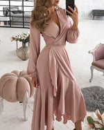 Load image into Gallery viewer, RUFFLES LANTERN SLEEVE CASUAL DRESS