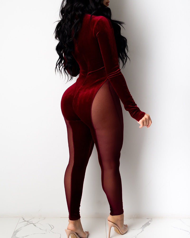 VELVET SHEER MESH LONG SLEEVES JUMPSUIT