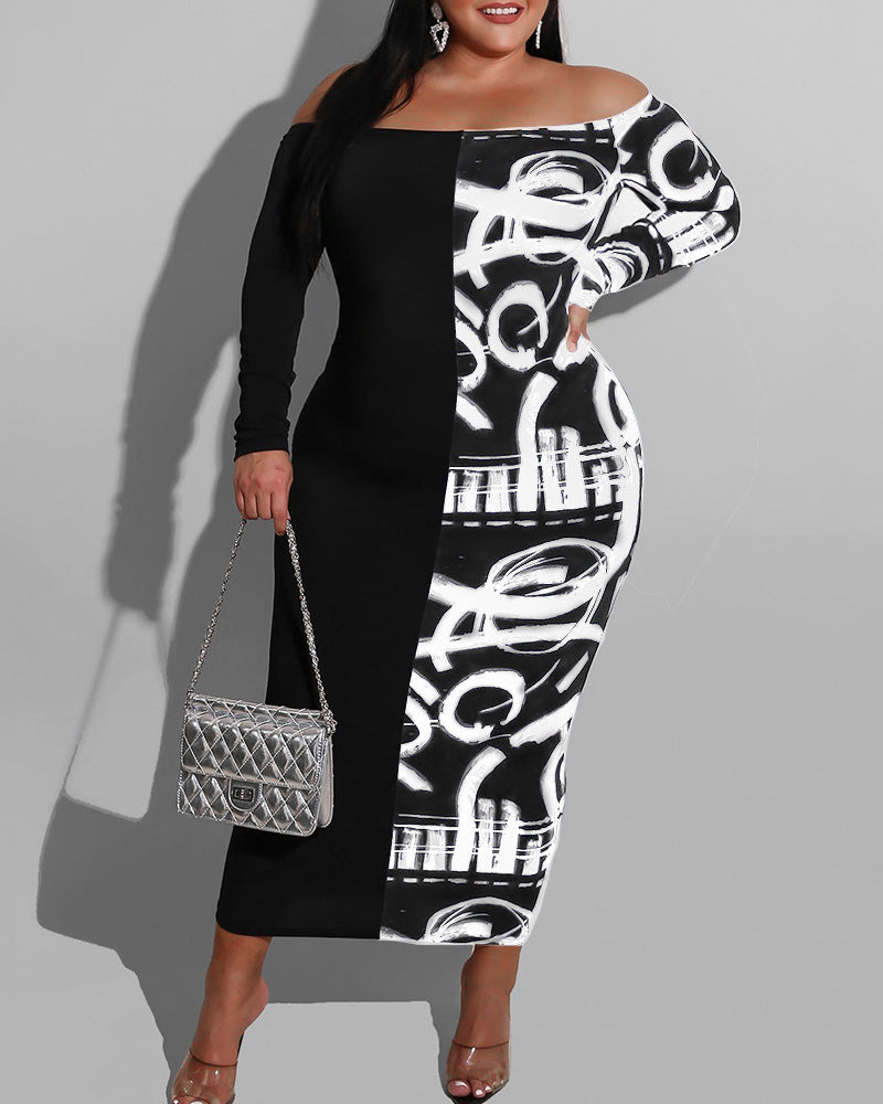 CONTRAST OFF SHOULDER LONG SLEEVES MAXI DRESS
