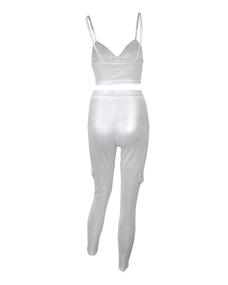 RIBBED CROP TOP & DRAWSTRING PANTS SET Set