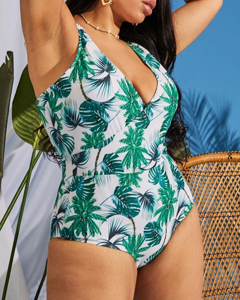 ALL OVER PRINT SLEEVELESS ONE-PIECE BIKINI SET - Imperious Boutique