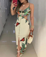 Load image into Gallery viewer, SPAGHETTI STRAP TROPICAL PRINT CUTOUT DRESS