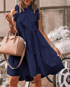 RUFFLES TRIM RUCHED SHORT SLEEVES CASUAL DRESS