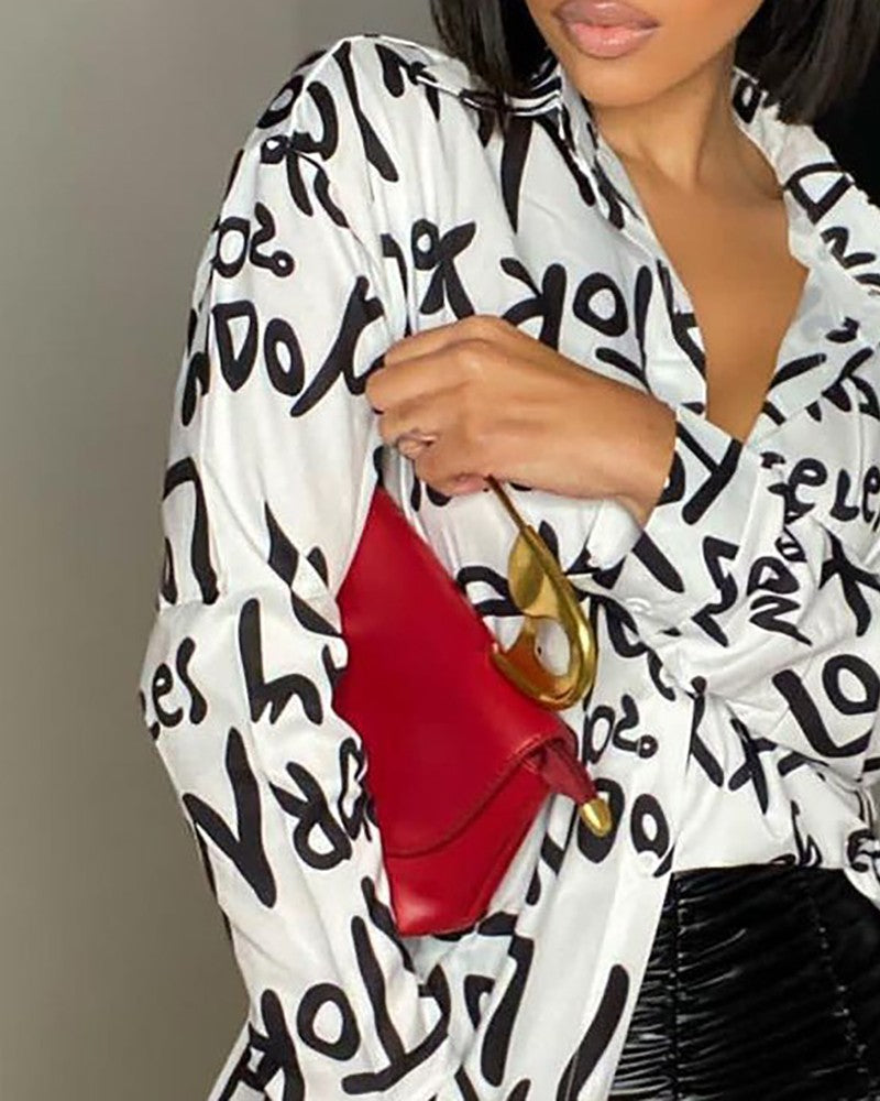 LETTER PRINT BUTTON-UP LONG SLEEVES BLOUSE
