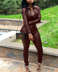 LEATHER BUTTONED JACKET & PANTS SET