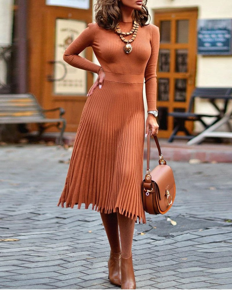 LONG SLEEVES KNIT RUCHED LONG SLEEVES DRESS