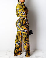 Load image into Gallery viewer, RETRO PRINT LONG SLEEVES WIDELEG JUMPSUIT