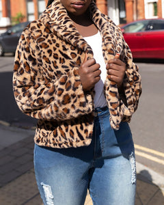 CHEETAH PRINT FLUFFY LONG SLEEVES COAT