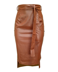 BUTTONED-UP SLIT LEATHER MIDI SKIRT